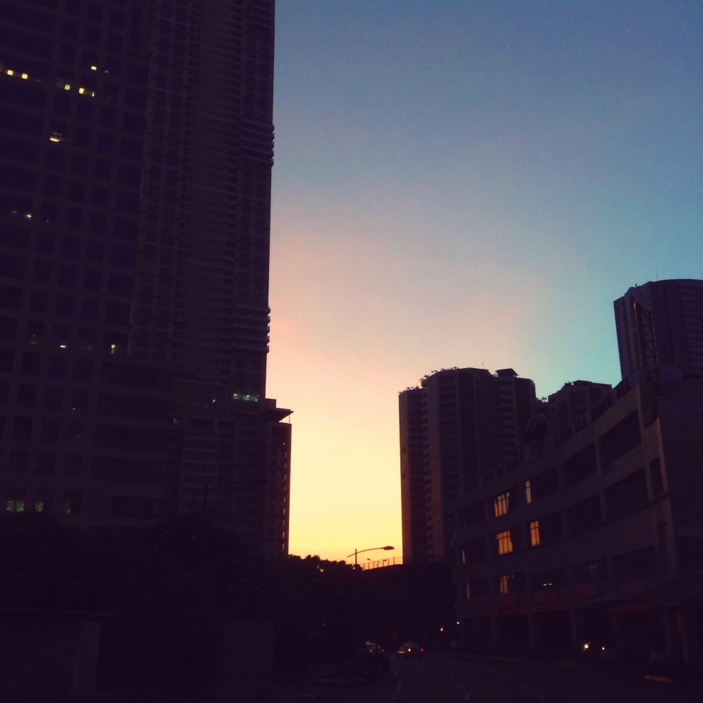 Daybreak in Makati, when I snatched someone to have breakfast with me (iPad)