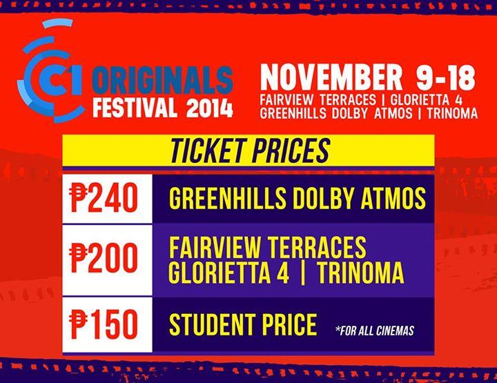 Ticket Prices Cinema One Originals 2014